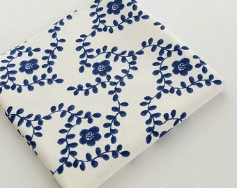 Retro Bamboo Cotton and Linen Fabric, Blue and White Porcelain Style fabric, Blue Flower Plum Blossom Linen fabric 1/2 yard  (QT540)