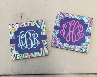 Drink Coaster Set Lilly Pulitzer inspired monogrammed SET OF FOUR ... 3 Styles to choose from ...Choose your print, frame and mono