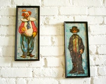 Pair Vintage BARDOT Clown Prints Large 1960s Mad Men Era wall decor Sad & Happy Clowns in black wood picture frames hanging art Emmett Kelly
