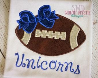 Custom Football shirt-Football with bow Team Onesie-Football team shirt-Football kickoff shirt-Team football shirts