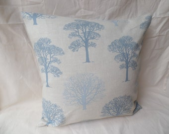 "16"" Handmade contemporary modern retro duck egg blue and beige trees cushion cover, pillow, pillow case, scatter cushion."