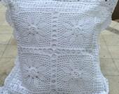 White square cotton crochet cushion cover with scalloped edge