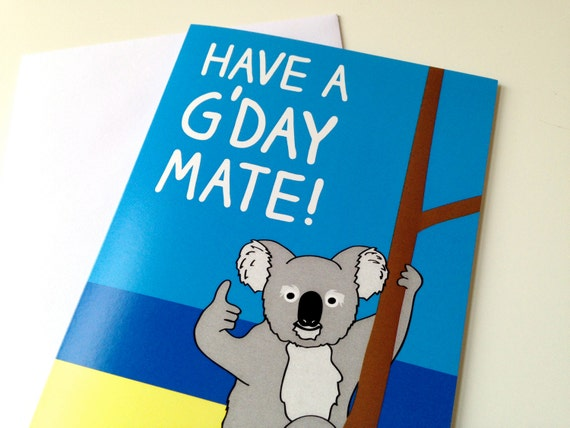 Koala Birthday Card Australian Birthday card Aussie bday – Australian Birthday Cards Online