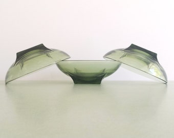 Hazel Atlas Colony Square Green Bowl / Vintage Glass Berry Bowl