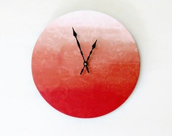 Unique Wall Clock, Ombre Clock, Pink Floral Clock,  Decor and Housewares, Home Decor, Home and Living