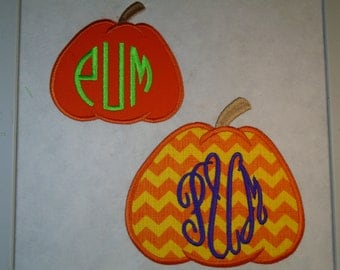 """Custom Halloween Monogrammed 4.7"""" tall Pumpkin iron on or sew on applique patch"""