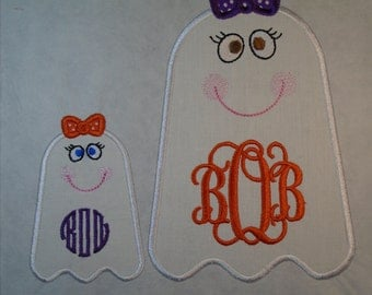 """Custom Halloween Monogrammed 3.8"""" tall Girly Ghost iron on or sew on applique patch"""