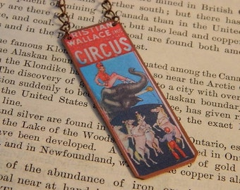 Circus necklace Circus Jewelry Circus Poster 1950's Circus mixed media jewelry