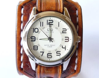 Q&Q Leather Watch, Light Brown Leather Watch