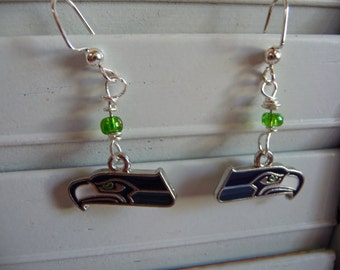 Seattle Seahawks Emblem and Glass Beads Earrings