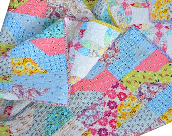 Pink Lap Quilt - Baby Bedding - 30s Fabric