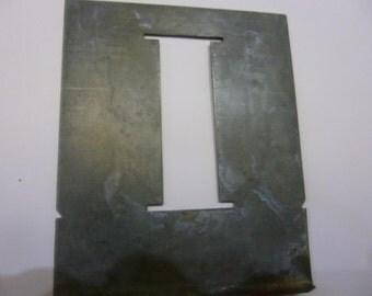 I, Vintage Stencil Initials, French, Zinc, Letter I.