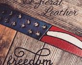 Handmade Tooled leather American flag leather bracelet