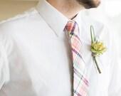 Coral Madras Necktie~Cotton Necktie~Wedding Tie~Mint Coral Tie~Plaid Necktie~Mens Gift~Skinny Tie~Coral Navy Tie~Boys Necktie~Mens Necktie