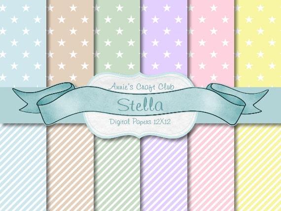 Digital Paper Pack - Pastel Stars & Stripes