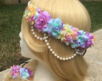 Pre-Order Pastel Parfait Rose Pearl Band Goddess Flower Crown Headband