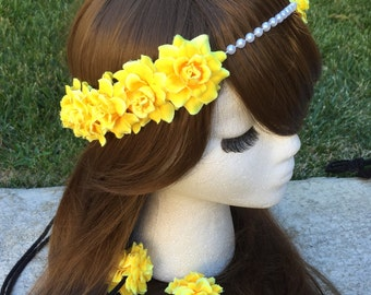 Pre-Order Yellow Rose Pearl Band Goddess Flower Crown Headband