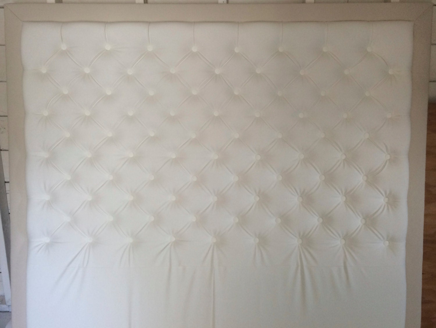 Axel Pewter Linen Tufted Headboard Headboards: Diamond Tufted Faux Leather Headboard With By Samanthadanielle