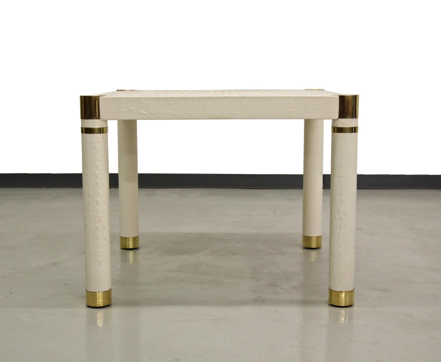 Crocodile embossed leather small square dining card table - Petite table haute ...