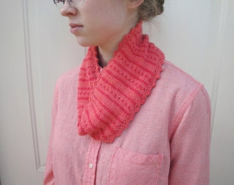 Striped Cowl Scarf, Stripes & Polka Dots, Pink and Orange, Soft Luxury Cotton Blend, Neck Warmer, Limited Edition