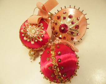 Pink Bead Christmas Ornaments Set Of 3 Vintage Handmade 1980s