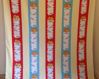 Vintage Garfield Cartoon Bed Sheet, Vintage Twin Flat Sheet