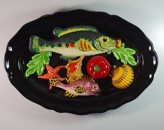 Vintage Majolica Barbotine French Palissy Wall Plate Fish Dish
