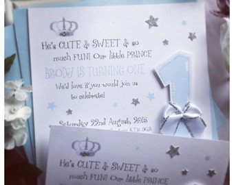 10 x Keepsake Birthday Invitations For A Prince