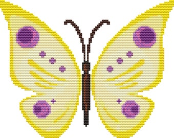 Cross Stitch Pattern Yellow Butterfly Instant Download PdF
