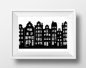 Amsterdam's Dutch Canal Houses, Black White Gold Giclée Archival Art print, Monochrome Wanderlust Travel Souvenir Illustration Poster