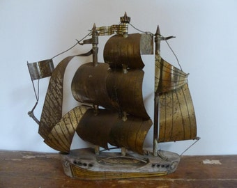 Vintage French Folk Art Boat Sculpture Model Roi des Corsaires