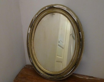 French Distressed Wall Mirror 19th Century Oval Frame