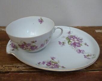 Vintage French Porcelain Cabinet Cup & Saucer Display Piece Breakfast Set