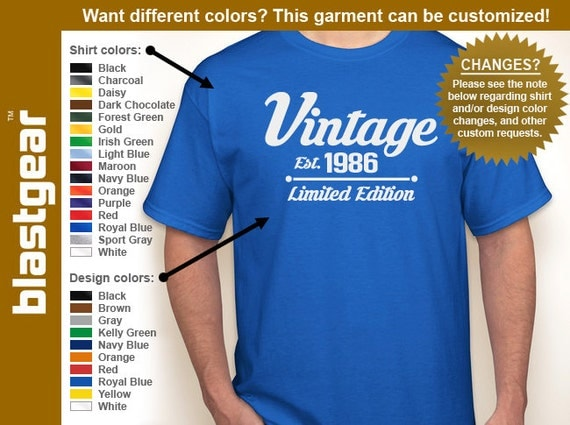 Vintage 1986 (or any year) Limited Edition 30th Birthday T-shirt — Any color/Any size - Adult S, M, L, XL, 2XL, 3XL, 4XL, 5XL