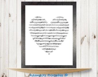 Musical notes printable, Heart Printable, Black and white prints, Instant download, Printable art, Romantic prints, Music printables