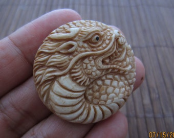 Antique look  Asian  Dragon cabochon,  Buffalo bone carving, Jewelry making Supplies S5420