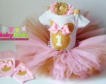 pink and gold first birthday outfit, first birthday outfit, first birthday girl outfit, pink birthday tutu, pink tutu, minnie mouse outfit