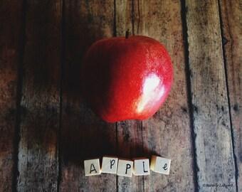 apple, food, typography, photo, fine art photography