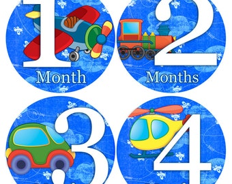 Baby monthly stickers 1 to 12 months - AIRPLANES - month to month baby stickers - Bodysuit Romper Stickers - Monthly Baby Stickers