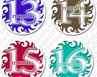 13 to 24 month baby photo stickers monthly baby stickers 4 inch Belly Stickers for newborn Baby Shower Gift Idea sticker set - SIMPLICITY