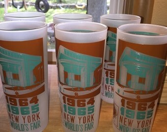 Vintage Set Of 1960's World's Fair Drinking Glasses Port Authority Building Set of 6