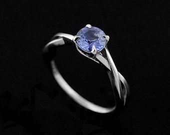 Twisted Inifinty Engagement Ring, Intertwining Split Shank Ring, Light Blue Sapphire Proposal Ring, Solitaire Modern Style Engagement Ring