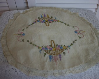 Antique Victorian Pillow Cover Hand Embroidered Round Beige