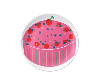 Birthday Cake plate - tableware, dinnerware, melamine plate, kids plate, children's plate, birthday plate