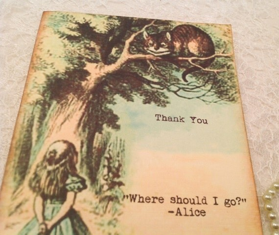 Quotes On Thank You Notes: Alice In Wonderland Thank You Note Card Set-Wonderland Quotes