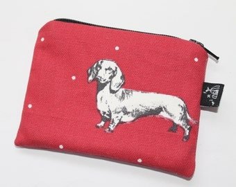 Coin purse, change purse, red with dogs, Dachshund