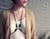 Nephtys - boho chic tribal witch pagan gypsy black gold bodychain harness body jewel necklace