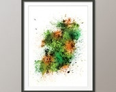 Ireland Map Paint Splashes, Art Print (2036)
