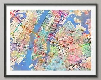 Manhattan, New York City Street Map USA, Art Print (2071)