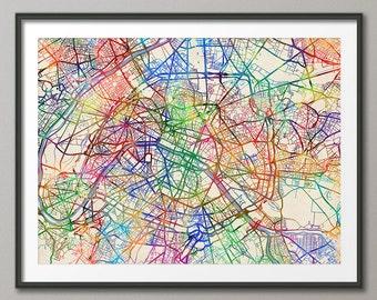 Paris Map, Paris France City Street Map, Art Print (2072)